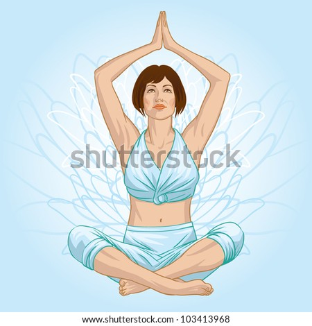Girl in yoga pose - stock vector