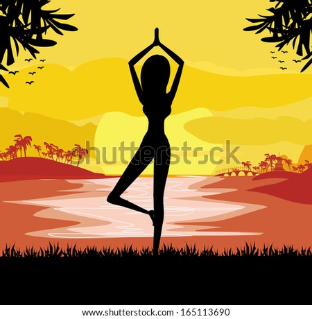 Girl in Yoga pose on Summer background with palm tree  - stock vector
