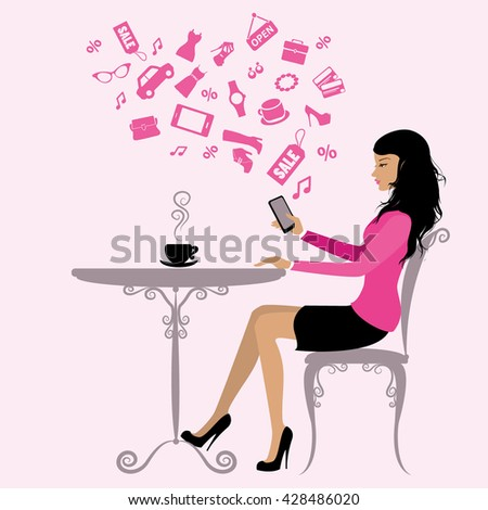 girl is drinking coffee and on the Internet via a smart phone,vector illustration