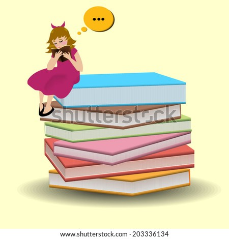Girl is sitting on books and  like to read book. - stock vector