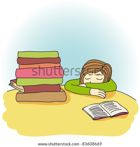 girl is sleeping at table laying her head on hands - stock vector