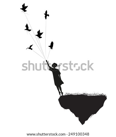 girl is standing on the edge of flying rock and holding pigeons, in the dream, shadows, silhouette. - stock vector