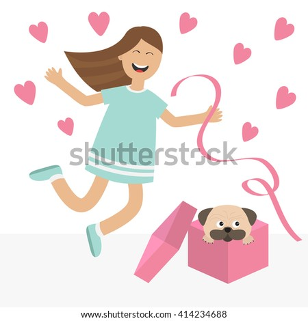 Girl jumping for joy. Gift box with puppy pug dog Happy child jump. Cute cartoon laughing character in blue dress holding ribbon.  Open giftbox. Smiling woman.  Isolated White background Flat Vector  - stock vector