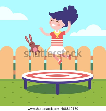 Girl jumping on a trampoline at the backyard. Childhood joy and happiness. Modern flat vector illustration clipart. - stock vector