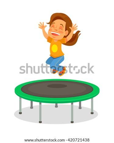 Girl jumping on trampoline. Vector flat cartoon illustration - stock vector