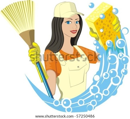 girl keeps broom and soapy sponge - stock vector