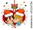 Girl kissing boy under mistletoe branch celebrating love in Christmas. - stock vector