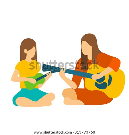 Girl learning to her teacher Play the Guitar. - stock vector