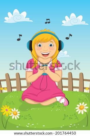Girl Listening Music Vector Illustration - stock vector