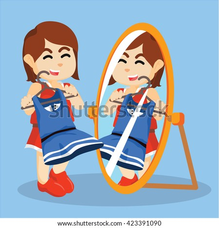 person looking in mirror clipart. girl looking at the mirror person in clipart