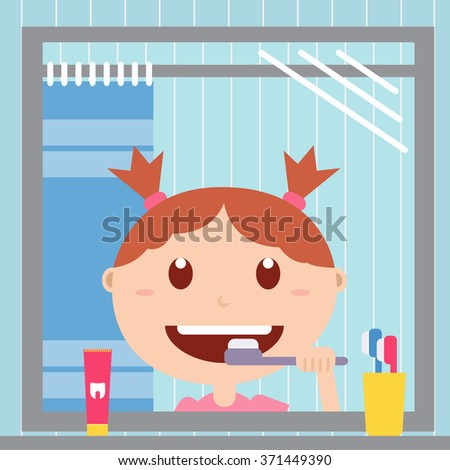 Girl looking at the mirror and brushing her teeth in the bathroom. Happy baby with healthy teeth, toothpaste and toothbrush.Vector flat  illustrations. - stock vector