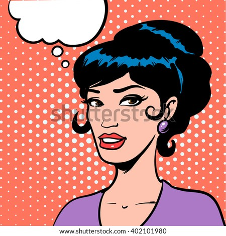girl looking, thinking woman, dream, happy, thoughts, retro style, pop art, vector illustration - stock vector