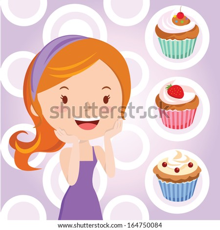 Girl loves cupcakes!!! Vector illustration of a Pretty girl smiling with sweetie cupcakes. - stock vector