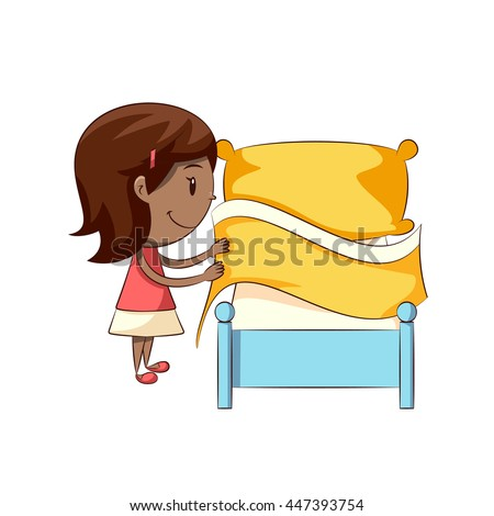 child making bed vector illustration stock vector