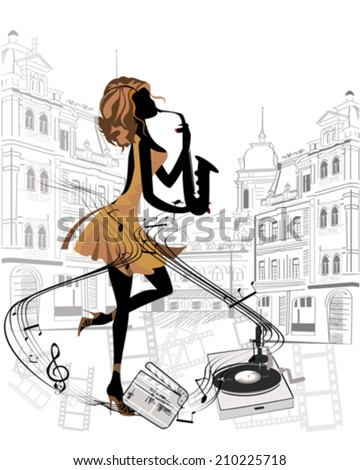 Girl musician playing the saxophone ?n the streets, musical background - stock vector