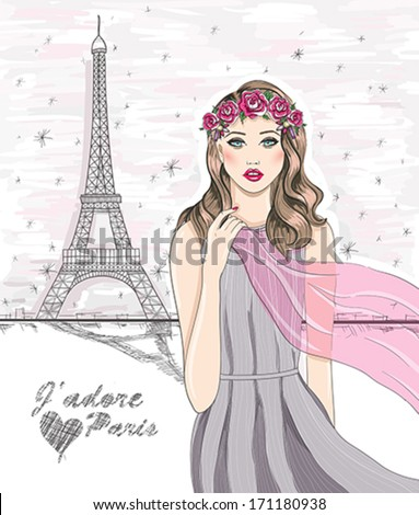 Girl near Eiffel tower. Hand drawn Paris postcard. Translation: I love Paris - stock vector