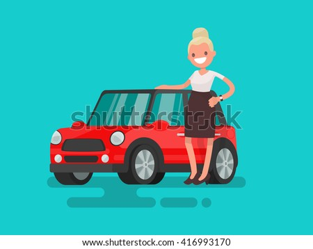 Girl next to a small red car. Vector illustration