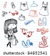 Girl of fashion doodle set.  Set of hand-drawn images of youth culture. - stock vector