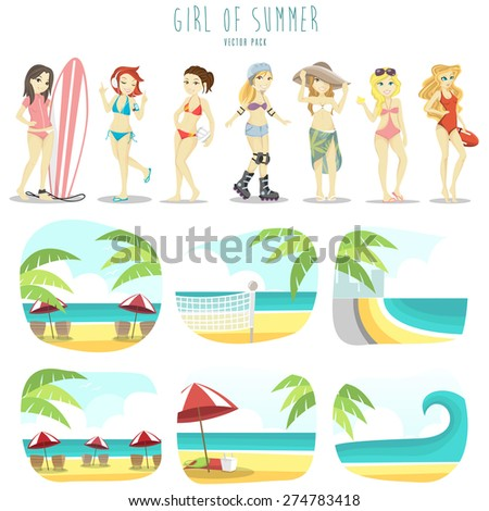 Girl of summer vector pack - stock vector