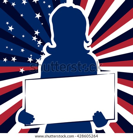 Girl on a background of abstract US flag. Background for Independence Day 4th of July. Cartoon woman with a sign in his hands.