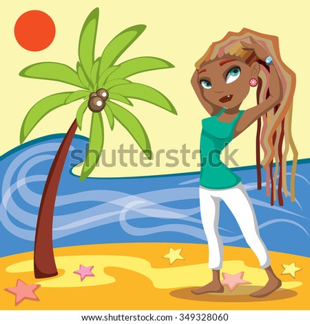 Girl on a beach. Summer vacation.