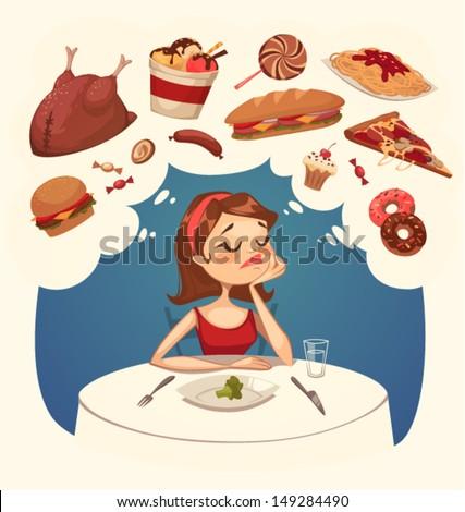 Girl on a diet. Tasty desires. Vector illustration. - stock vector