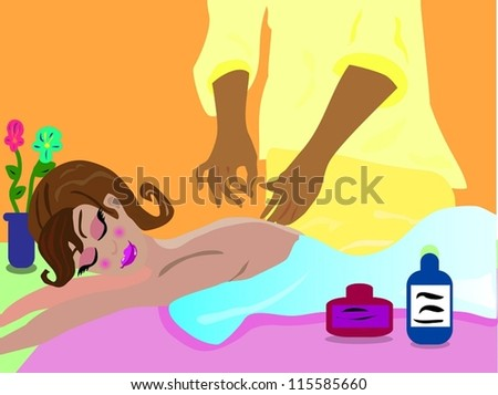 Girl on a relaxing massage/Massage - stock vector