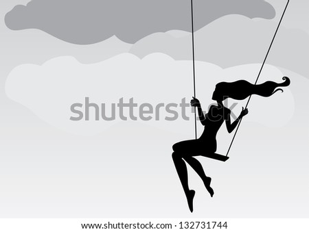 girl on a swing background - stock vector