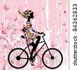 Girl on bike grunge romantic - stock vector