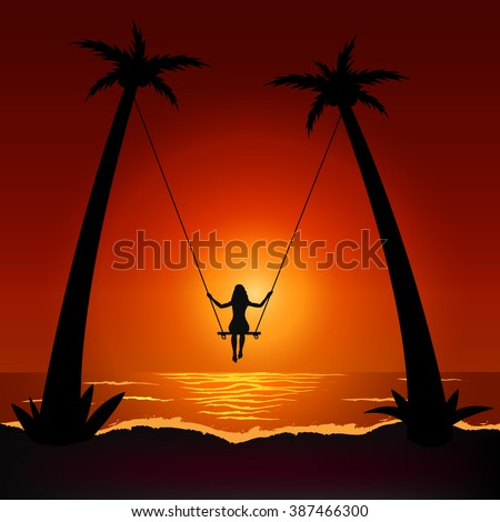 Girl on swing on the beach at sunset