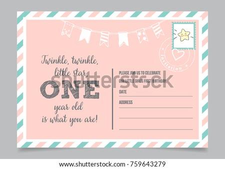 Girl one year birthday invitation card stock vector 759643279 girl one year birthday invitation card with text twinkle twinkle little star stopboris Gallery