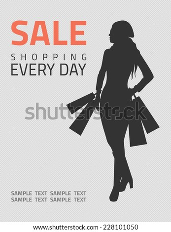 Girl or woman on big winter shopping sale hold bags. Sale poster vector illustration.  - stock vector