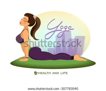 Girl outdoors in cobra pose.Yoga classes - stock vector