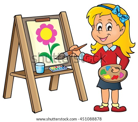 Girl painting on canvas 1 - eps10 vector illustration. - stock vector