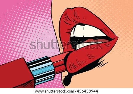 Girl paints her lips with red lipstick, makeup pop art retro vector. The beauty of the face - stock vector
