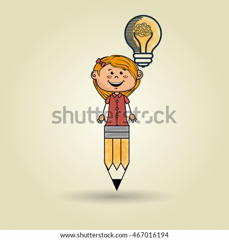 girl pencil idea icon vector illusration graphic