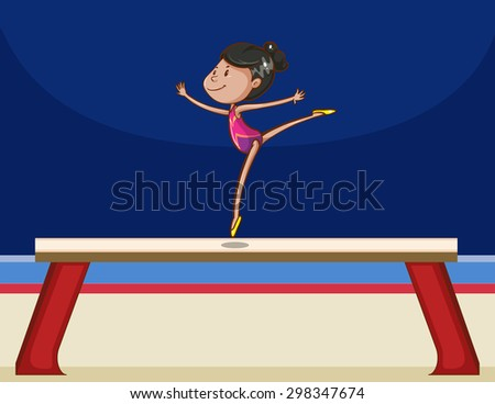 girl performing gymnastics on a board balance beam