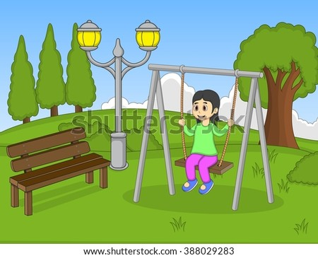 Girl play swing at the park cartoon vector illustration