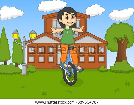 Girl play unicycle at the school cartoon vector illustration