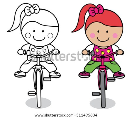Girl playing bicycle - stock vector