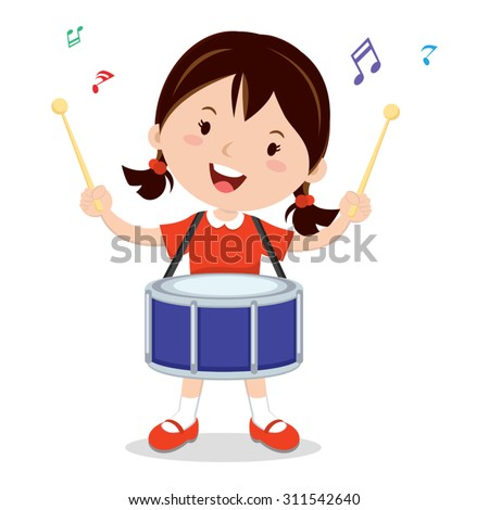 Girl playing drum. Vector illustration of a cheerful girl playing drum. - stock vector