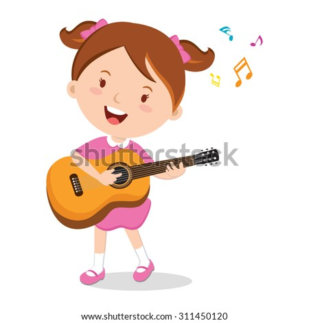 Girl playing guitar. Vector illustration of a cheerful girl playing guitar happily. - stock vector