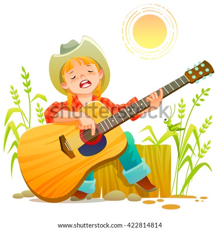 Girl playing guitar. Vector illustration of a cheerful girl playing guitar happily, rueful - stock vector