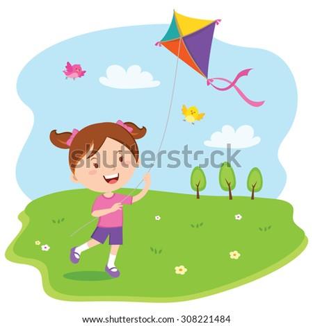 Girl playing kite. Vector illustration of a cheerful girl enjoying flying kite. - stock vector