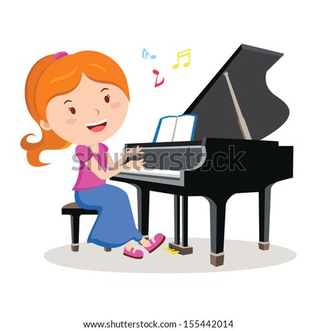 Girl playing piano. Pianist. Vector illustration of a happy Girl playing piano. - stock vector