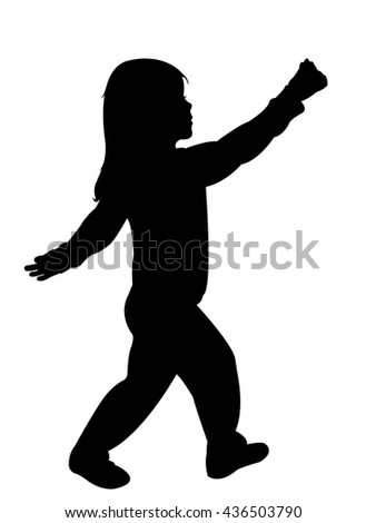 girl playing, silhouette vector