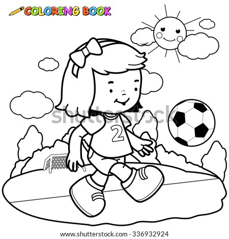 Girl playing soccer   - stock vector