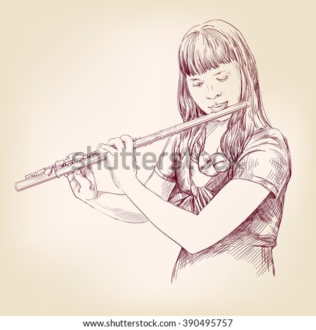 Girl playing the flute hand drawn vector llustration realistic sketch