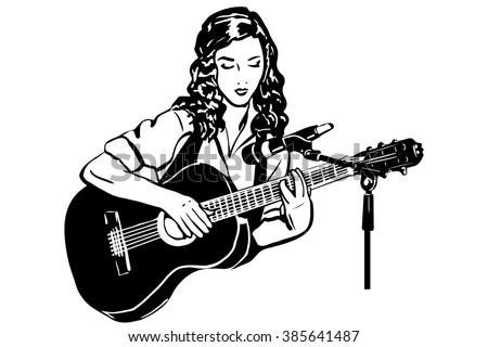 girl playing the guitar in front of a microphones