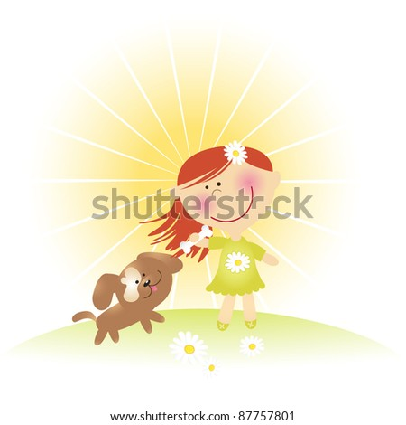 Girl playing with a dog. Vector illustration - stock vector